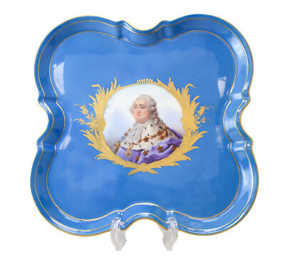 Antique Sevres Hand Painted Porcelain Square Tray, 19th Century. Scallop Edged