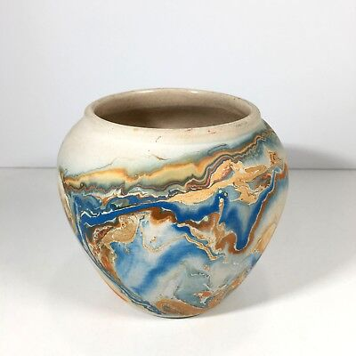 Vintage Nemadji Pottery USA Swirl Vase Orange Blue Indian Head Stamp 4.25""