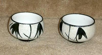 tea cups asian style, black on textured white, set of 2