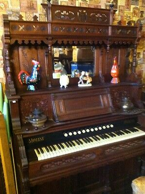 ANTIQUE  Walnut. MOLINE Reed/PUMP Organ-Made in Moline, IL   High-top W/ Mirror!