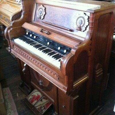 B. SHONINGER. PLAYING **WALNUT**PUMP/ Reed Organ c. 1880's. Needs Some Fixing