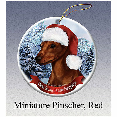Miniature Pinscher Red Howliday Porcelain China Dog Christmas Ornament