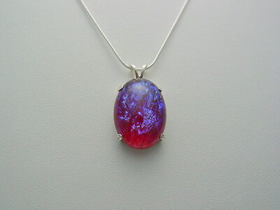 Dragon's Breath Glass Mexican Fire Opal Sterling Silver Pendant Snake Chain