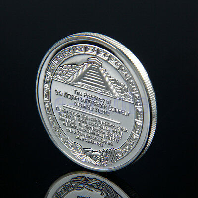 Sliver Plated Aztec Mayan Calendar Commemorative Coin Collective Collection H5