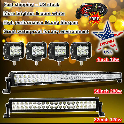 """52 Inch Curved LED Light Bar + 22in + 4"""" CREE Pods Offroad SUV ATV Ford Jeep 50"""""""