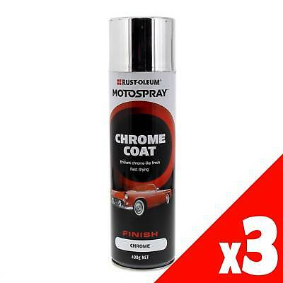 Chrome Coat Spray Paint Can 400g Motospray Suitable For Plastics & Metals 3 Pack