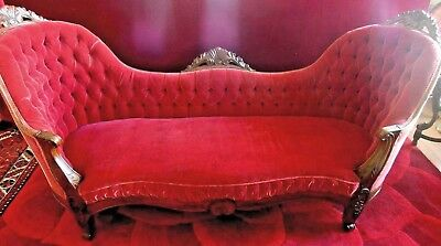 Rococo  Settee  Rosewood Chaperone  Mohair Tufted Back