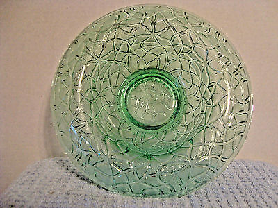 206 Green vaseline glass rolled rim glass console bowl.