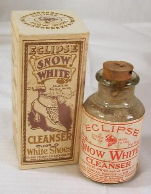 Antique 1910 Eclipse Snow White Shoe Polish Cleanser Bottle Original Box Vtg NOS