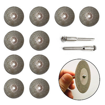 10Pcs Mini Diamond Blade Cutting Discs Rotary Wheel Grinding +2 Mandrel Dremmel