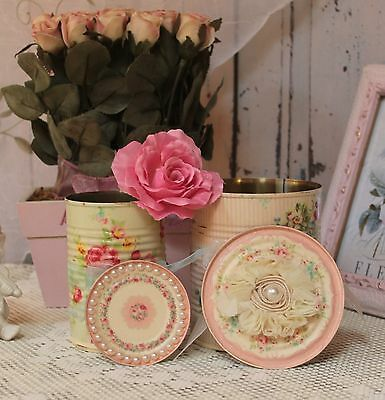 ~ A set of 2 ~ Vintage Shabby Chic Decor Painted Decoupage Tin Cans, With Lids ~
