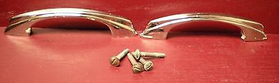 Mid Cent Chrome Over Cast Brass Deco Kitchen Medical Cabinet Drawer Handles #1