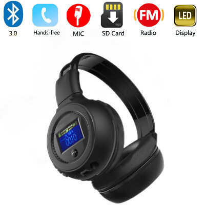 Multi Stereo Bluetooth Wireless Headset/Headphone With Call Microphone LED FM SD