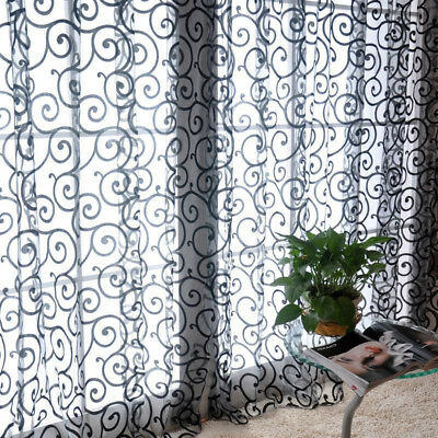 Geometric Floral Printed Window Curtain Sheer Voile Tulle for Living Room Decor