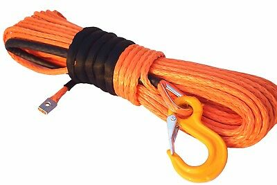 """Orange 3/8""""×100ft Synthetic Winch Rope,Replacement Winch Cable,Plasma Winch Rope"""