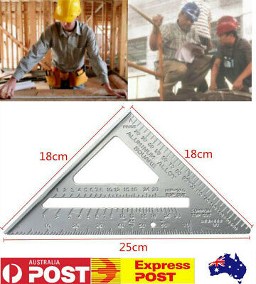 7'' Speed Square Layout Tool Aluminum Alloy Protractor Triangle Guide Woodwork