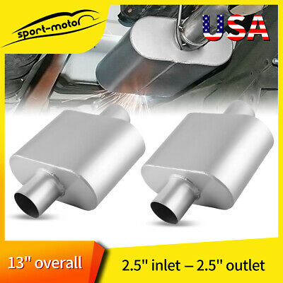 "Pair Single Chamber Performance Race Mufflers 2.5"" Center Inlet / Outlet V425109"