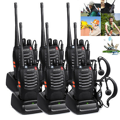 6Pcs Baofeng Walkie Talkie UHF400-470MHZ Long Range 2 Way Radio 16CH BF-888S 5W