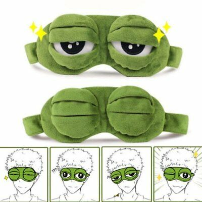 Travel 3D Green Frog Sleeping Eye Mask Shade Relax Blindfold Sleep Cover Light