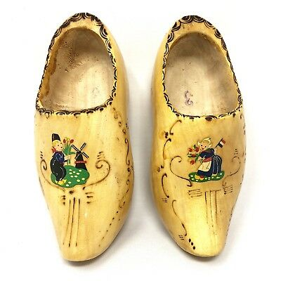 Vintage Dutch Wood Shoes Hand Painted Hand Carved Wall Hanging Made in Holland