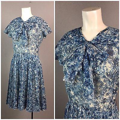 Vintage 1950s 1960s Blue Floral Pleated Dress With Large Bow Collar Pinup S