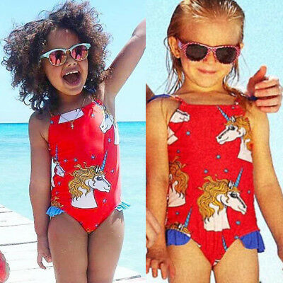 AU Stock Infant Baby Girl Bikini Swimsuit Bathing Beachwear Unicorn Lace Braces