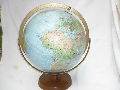Replogle GREAT WORLD GLOBE on WOOD BASE - 1960s Reader's Digest 12 inch diameter