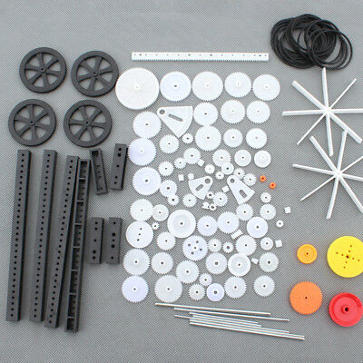 92Pcs Single / Double Plastic Gear Motor Rack Pulley Gearbox Model Toy Car