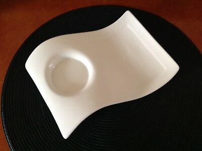 """Villeroy & Boch White """"New Wave"""" Caffe Party Plate Snack Tray Dish~Set of 4"""