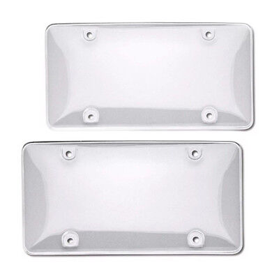 2 Clear License Plate Tag Frame Covers Bubble Shields Protector for Car-Tru Q8M1