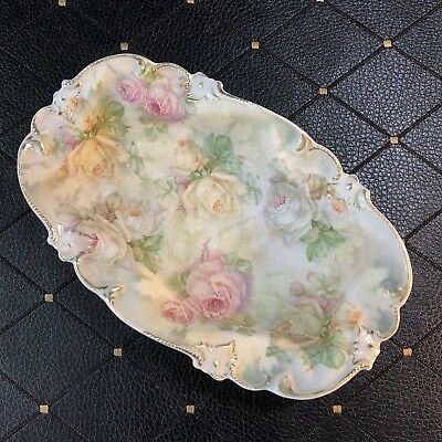 "Royal Bayreuth Rose Tapestry 7 3/4"" Relish Tray Dish Gold Guilded"