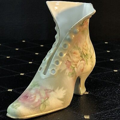 Royal Bayreuth Rose Tapestry Tall High Top Shoe Boot Figurine