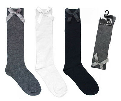 GIRLS KNEE HIGH SCHOOL SOCKS WITH RIBBON Grey White Black Cotton SIZE 9 to 5 NEW