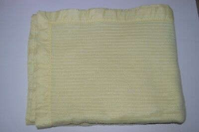 Vintage Waffle Weave Blanket Carters Yellow Shabby Chic