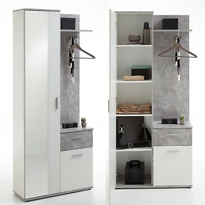 garderobe maya flur kompaktgarderobe set regal kommode in beton optik grau wei eur 79 95. Black Bedroom Furniture Sets. Home Design Ideas