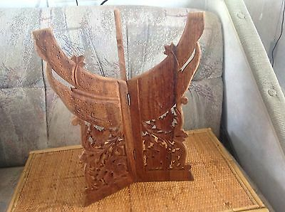 VINTAGE FOLDING Caved LEAF elephant WOOD PLANT STAND Display