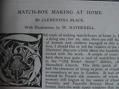 Matchbox Making Poverty Shoreditch Women Child Rare Old Victorian Article 1892