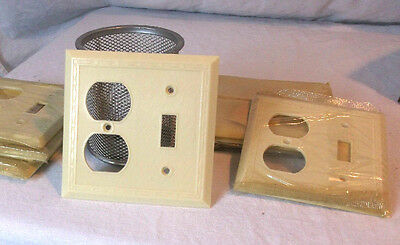 Ivory Bakelite Switch/Outlet Combo Diamonds & Dots Vintage Switchplate Art Deco
