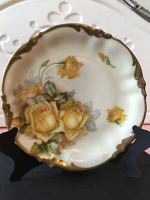 """Antique Prov Saxe ES Germany Yellow Roses Bread Plate 5.8"""""""