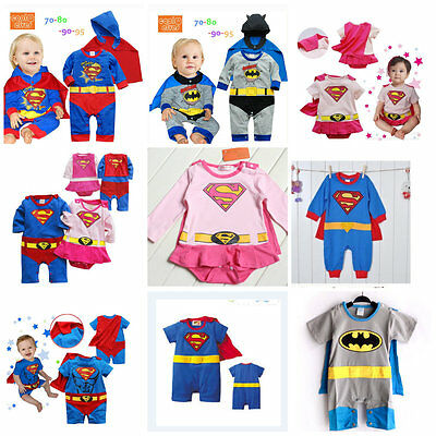 Toddler Superhero Costume Fancy Dress Party Jumper 100% Cotton Size 3-24 months