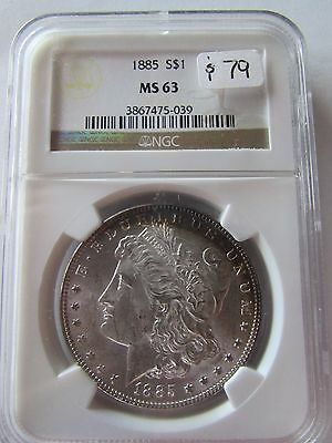 1885 Morgan Silver Dollar NGC MS63 Crescent Rainbow Color Toning Obverse $1 Coin