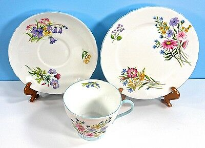 SHELLEY CHINA, Trio, 'Wildflowers' Pattern, No.13668, in the 'Richmond' shape