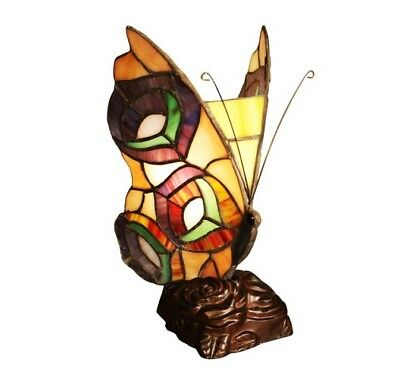 """Butterfly Accent Table Lamp Tiffany Style Stained Glass 10"""" Multi Color Lighting"""
