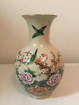 Vintage Kutani 13 Inch Japanese Vase With Avian And Botanical Hand-Painted Motif