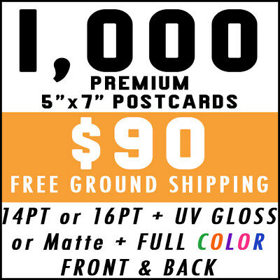 1000 Custom Full Color 5x7 16pt Postcards UV Glossy Real Print Free Shipping