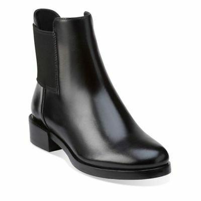 ab26de45d06 NEW Clarks Womens Leather Ankle Chelsea boots MARQUETTE WISH Black Pull On