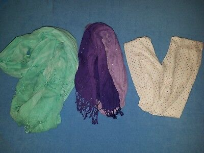 3 Girl's scarves Nice 1 infinity White w/polka dots, Purple and Mint green