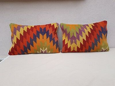 16'' X 24'' Rustic Kilim Lumbar Pillow Covers Set of 2 Decorative Throw Pillows