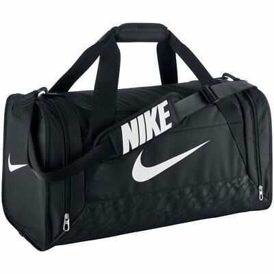 Nike Brasilia 6 Duffel Bag Medium BA4829 001 Black White Gym Training Sports