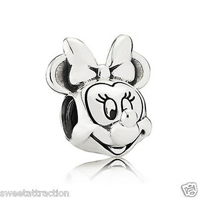 New Authentic Pandora Charm Disney Minnie Portrait 791587 W Tag & Suede Pouch